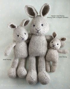 Crochet Projects Bunny family Hello and a belated happy New Year! I do hope that this new year has been kind and gentle to you so far. I'm still getting back into the swing of things after the wildly out-of-routine Christmas break and I. Knitted Bunnies, Knitted Animals, Animal Knitting Patterns, Crochet Patterns, Amigurumi Patterns, Knitting Dolls Free Patterns, Knitted Dolls Free, Crochet Amigurumi, Knit Crochet