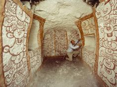 mexico - Richard Adams examined pre-Columbian Maya wall murals in Tomb One at Rio Azul in 1984.