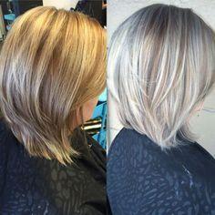 Avant-Apres : silver highlights in brown hair Google Search   Haircuts lob