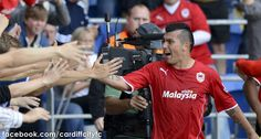 Gary Medel interacts with Cardiff City fans vs Manchester City