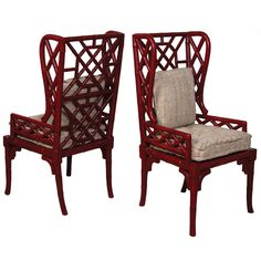 Red Bamboo Wing Back Chairs ($1,895) ❤ liked on Polyvore featuring home, furniture, chairs, dining chairs, hand carved chair, red chair, red wingback chair, red dining chairs and red furniture