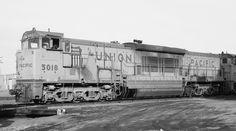 Union Pacific GE U50C 5018, Denver, Colorado, December 18, 1971. Bruce Black photo.