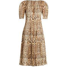 Adam Lippes Ocelot leopard-print cotton midi dress found on Polyvore featuring dresses, animals, cotton dress, a line cocktail dress, cocktail dresses, brown cocktail dress and short cocktail dresses