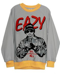 Eazy E LA Compton Hip Hop Two Tone Unisex Fleece Sweater Sweatshirt T-Shirt Top by IDILVICE Fashion.