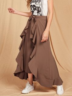 Shop Ruffle Trim Tie Front Wrap Pants online. SheIn offers Ruffle Trim Tie Front Wrap Pants & more to fit your fashionable needs.