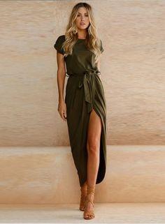 Short Sleeve High Slit Solid Maxi Dress with Belt novashe.com