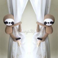 A pair of sloth Curtain Tiebacks, Crochet slot, Sloth crochet tieback, baby shower (Made of Cotton yarn) Cute Baby Sloths, Cute Sloth, Crochet Sloth, Party Fiesta, Alpacas, Diy Crafts For Kids, Spirit Animal, Future Baby, Baby Room