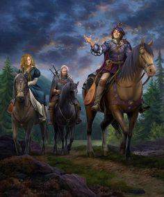 Wiedźmin - Geralt, Bard - Jaskier, Dziwożona ( łuczniczka) - Milva