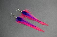 Summer earrings Pink feather jewelry Beach Sea earrings Summer