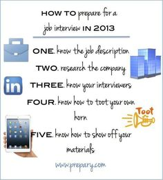 infographic : infographic : infographic : How to prepare for a job interview in 2013 #jobsearc