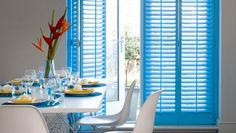 Think shutters are just for windows? Dress up any of your french and patio doors with a set of our expertly crafted and installed door shutters. Kitchen Shutters, Wooden Shutters, Home Design Decor, House Design, Home Decor, Shutter Images, Shutter Doors, Decorating Your Home, Blinds