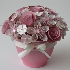 Potted Paper Flower Bouquet - Cotton Candy