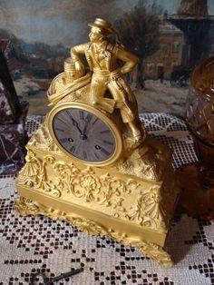 Pendule Kaminuhr Tischuhr Biedermeier Bronze vergoldet Figur Seemann Korsar 1840 in Antiquitäten & Kunst, Metallobjekte, Bronze | eBay!