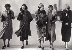 1930's street fashion, coats, hats! dress shoes found photo print ladies women city leopard jacket wool 30s