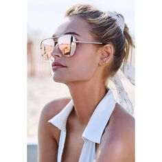 Quay High Key Gold and Yellow Mirrored Aviator Sunglasses ($65) ❤ liked on Polyvore featuring accessories, eyewear, sunglasses, gold, quay sunglasses, mirror lens aviator sunglasses, aviator sunglasses, mirrored lens sunglasses and mirror sunglasses