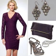 Caché lace dress in purple and chandelier earrings. Clutch purse, Claire Vivier. Ring, Swarovski. Shoe, Pelle Moda.