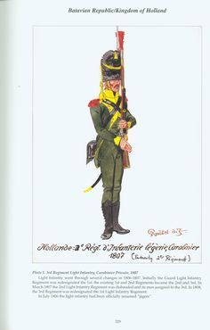 Kingdom of Holland: Plate Light Infantry Regiment, Carabinier Private, 1807 Army Uniform, Military Uniforms, Battle Of Waterloo, Empire, Napoleonic Wars, Military History, Warfare, Netherlands, Dutch