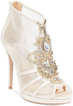 Badgley Mischka Lianna Evening Booties #shoes #heels #gold #white