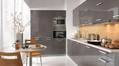 Küche, Schränke, Küchenzeile erweiterbar Anthrazit MDF Glanz, Neu&Schnell