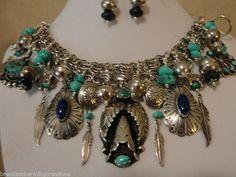 Sterling Native American charm bracelet and earrings
