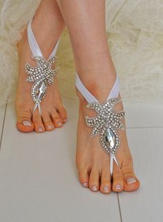 Rhinestone anklet Beach wedding barefoot sandals Sexy by newgloves, $45.00