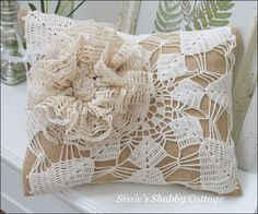 Lace over burlap!  Love Sissie's Shabby Cottage