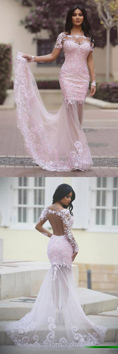 Long Sleeve Prom Dresses Lace, New 2018 Prom Dresses Mermaid, Scoop Neck Long Prom Dresses Tulle
