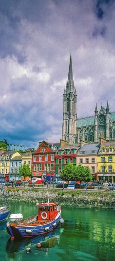 Waterfront and St Colman's Cathedral, Cobh, Ireland