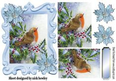 Lovely robin in the snow in ornate frame with berries on Craftsuprint - Add To Basket!