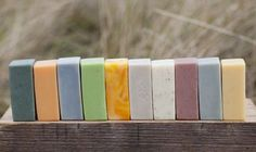 Dindi Naturals mixed soaps all coloured with plant extracts and clay, and scented naturally with pure essential oils.