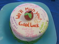 Going Away Cake My boss/long time good friend, just got a teaching job and was moving away. I made the cake and had all the staff sign it. Going Away Cakes, Farewell Cake, Happy Birthday, Birthday Cake, Cake Central, Cake Decorating, Desserts, Party Ideas, Decoration