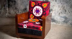 Agha antique suzani armchair