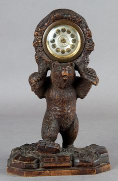 a nice carved wood bear table clock, 1900 Mantel Clocks, Wood Clocks, Antique Clocks, Vintage Clocks, Black Forest Wood, Forest Cottage, Forest Decor, Desk Clock, Wood Art