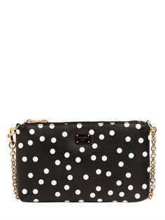 DOLCE & GABBANA Polka Dot Printed Faux Leather Clutch, Black/White. #dolcegabbana #bags #lace #leather #clutch #shoulder bags #lining #hand bags #