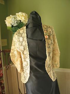 Vintage Embroidered Net Lace Jacket Silk Roses Antique 1920's 1930'S | eBay