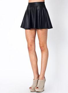 faux leather skater skirt $18.00 in BLACK - Skirts | GoJane.com