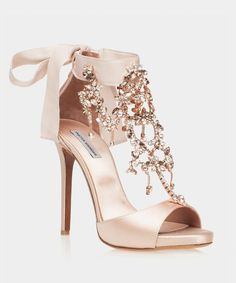 """Here She Comes Bridal Rose Satin Open Toe Sandal Tabitha Simmons Br. - Here She Comes Bridal Rose Satin Open Toe Sandal Tabitha Simmons Bridal """"Here She Co - Fancy Shoes, Cute Shoes, Me Too Shoes, Pretty Shoes, High Sandals, Open Toe Sandals, Heeled Sandals, Shoes High Heels, High Heels Outfit"""