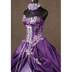 GOTHIC BLACK & WHITE STUNNING WEDDING DRESS GOWN BRIDAL DRESS BALL GOWN B1575