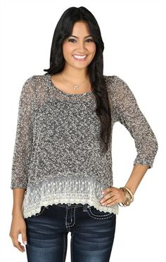 Deb Shops High Low 2fer #Sweater with Three Quarter Length Sleeves and #Lace Tank $17.92