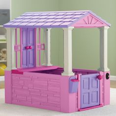 This durable plastic playhouse will provide your little ones with countless hours of fun. Featuring a mailbox and working doorbell, the rugged all-plastic construction of this playhouse makes it a welcome addition to your child's play area.