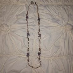 Ann Taylor long gold necklace with clear stones Beautiful gold layering necklace! Clear stones allow for it to be worn with everything! Like-new condition. Ann Taylor Jewelry Necklaces