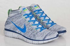 Check out the latest colorway release of Nike Free Flyknit Chukka. For the release, NSW is working with wolf grey with dark blue woven throughout the upper Latest Sneakers, Sneakers Fashion, Fashion Shoes, Male Fashion, Nike Shoes, Shoes Sneakers, Nike Free Flyknit, Cycling Outfit, Cycling Clothes