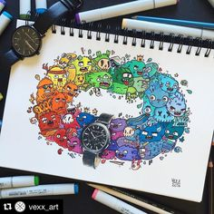 #Repost @vexx_art with @repostapp Collab with @christianpaulwatches I decided to go colorful with this one because why not Timelapse drawing on my YouTube channel (youtube.com/Vexx or link in bio) Let me know what you think about it in the comments ! I hope you have an awesome weekend