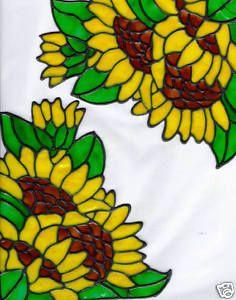 Stained glass sunflower window corners