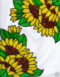 Stained glass sunflower window corners