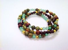 Fall jewelry Three Gemstone bracelets Unakite  by SweetShotDesign, $36.50
