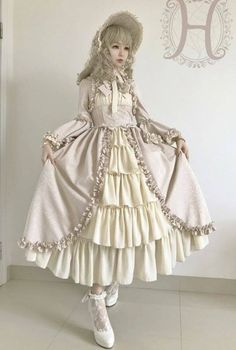 This dress looks magical.-----------UPDATE: Henrietta [-✿✿-Antique Victorian Doll-✿✿-] Long Version OP Dres [-✔-In Beige Grey X Beige Colorway-✔-] Harajuku Mode, Harajuku Girls, Harajuku Fashion, Kawaii Fashion, Lolita Fashion, Cute Fashion, Estilo Lolita, Simple Dresses, Cute Dresses