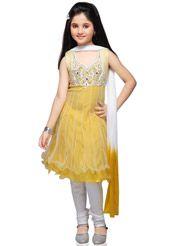 Yellow Net Readymade Anarkali Churidar Kameez