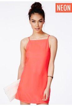Odeta Neon Orange 90s Strappy Mini Shift Dress