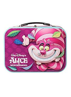 Tin tote from Disney's <i>Alice in Wonderland</i> with Cheshire Cat graphics, molded plastic handle for easy carrying and a secure metal latch closure.